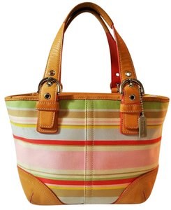 Coach Mini Striped Leather Small Tote in Pink, White, Multi-Color