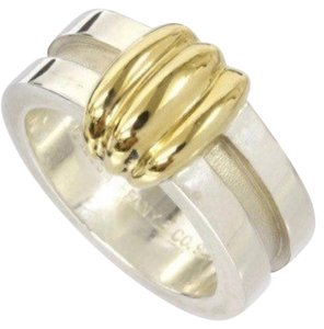Tiffany & Co. Size 4.25, sterling silver, 18k yellow gold, Atlas, wide band ring