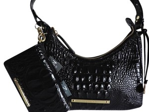 Brahmin Croc Emboss Leather Shoulder Bag