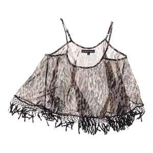 For Love & Lemons Sheer Fringe Hem Top