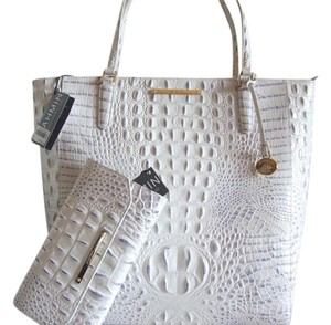 Brahmin Croc Emboss Leather Large White & Blue Wallet Included & Wallet Tote in Stonewash
