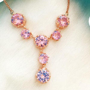 Betsey Johnson Betsey Johnson Rose Gold Pink CZ Crystal Y-Necklace