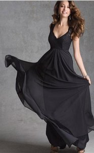 Mori Lee Black 693 Cap Sleeve Lace Chiffon Bridesmaid Dress Dress