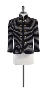 St. John Black Striped Ribbon Trim Cardigan