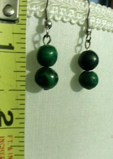 Custom-Made 2 malachite stone bead earrings