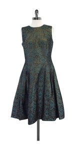Carmen Marc Valvo short dress Teal & Gold Brocade on Tradesy