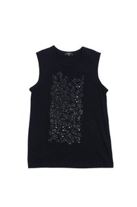 Vera Wang Black Sequined Panel Top