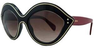 Valentino Valentino Black/Red Oval Sunglasses