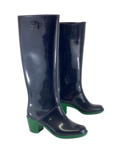Sergio Rossi Navy Green Rubber Boots