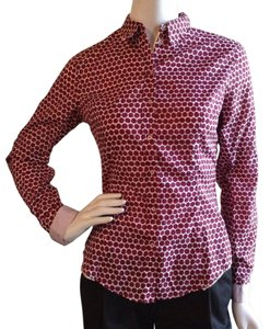 Paul Smith Vibrant Print Italian Cotton Black Label Nwot Button Down Shirt Red