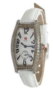 Michele Michele White Leather Coquette Stainless Steel Watch