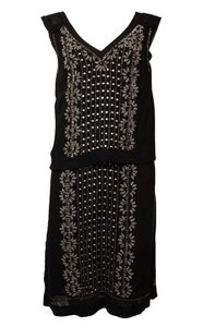 French Connection Beaded Embellished V-neck Cocktail Layered Dress