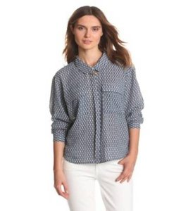 Anthropologie Blue Arrow Button Down By Madison Scotch Top Bedoin Blue/White