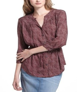 Anthropologie Top Burgundy/White