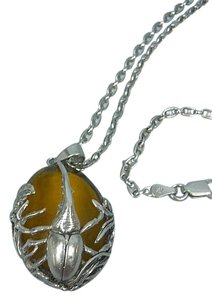Beetle Amber Cabochon Pendant Necklace - Marked .925 Italy