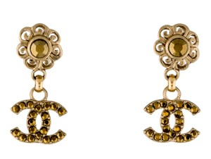 Chanel Chanel gold-tone interlocking CC crystal Camellia drop earrings