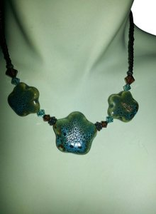 Artist Hand made ceramic and crystal bead necklace