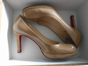 Christian Louboutin Natural Nude Patent Camel/Natural Pumps
