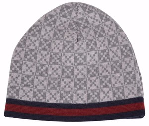 Gucci Gucci 347988 Men's Light Grey Diamante Red Blue Stripe Wool Beanie Hat