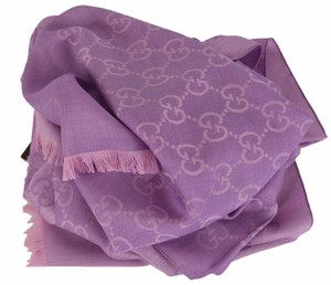 Gucci Gucci 165904 Women's Violet and Lilac Wool Silk GG Guccissima Scarf