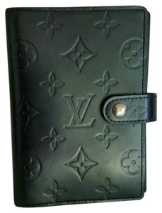 Louis Vuitton Black Mat Leather Monogram Agenda PM Ring Binder w Refills