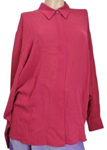 Gucci Long Sleeve Silk Shirt Top Magenta