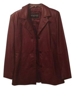 Wilsons Leather Oxblood Wine Burgundy Blazer