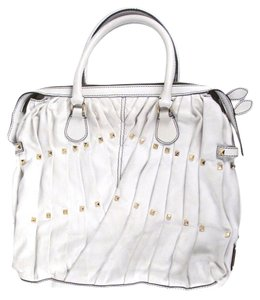 Valentino Rockstud Studded Pleated Leather Tote in White