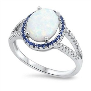 9.2.5 stunning opal and sapphire cocktail ring size 7