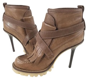 Tory Burch Cross-strap Front Fringe Lug Sole Leather Brown Boots