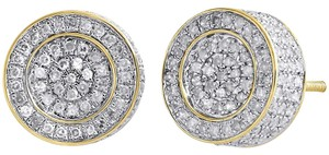 Other 10K Yellow Gold Diamond Round Cut Pave Circle Cube Earrings 0.75 CT.