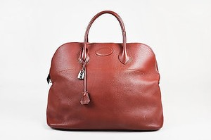 Hermès Rouge Venitienne Clemence Leather Palladium Hardware Bolide 45 Tote in Red