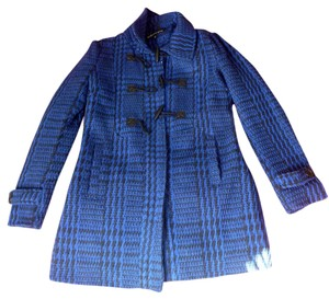 Ambiance Apparel Blue Houndstooth Toggle Pea Coat