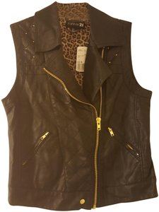 Forever 21 Studded Moto Faux Leather Leopard Sleeveless Vest