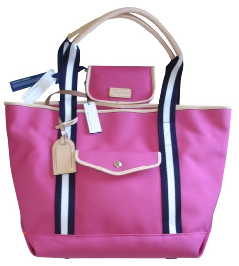 Dooney & Bourke Tote in Pink, navy Blue & White