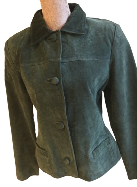 Jacqueline Ferrar Suede Leather Size Medium Forest Green Leather Jacket