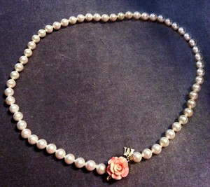 Majorica rare carved coral rose clasp round white Pearl Necklace