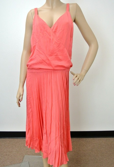 Item - Pink New Pleated 44 292744 Long Short Casual Dress Size 12 (L)