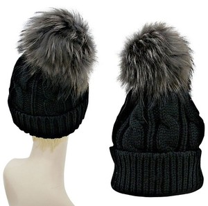 Warm Black Knit Beanie Winter Hat With Genuine Raccoon Fur Pom Pom