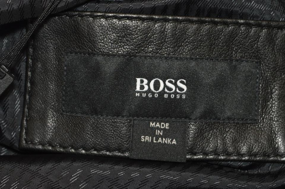 boss by hugo boss black men 39 s quilted lambskin leather biker 42r motorcycle jacket size 10 m. Black Bedroom Furniture Sets. Home Design Ideas