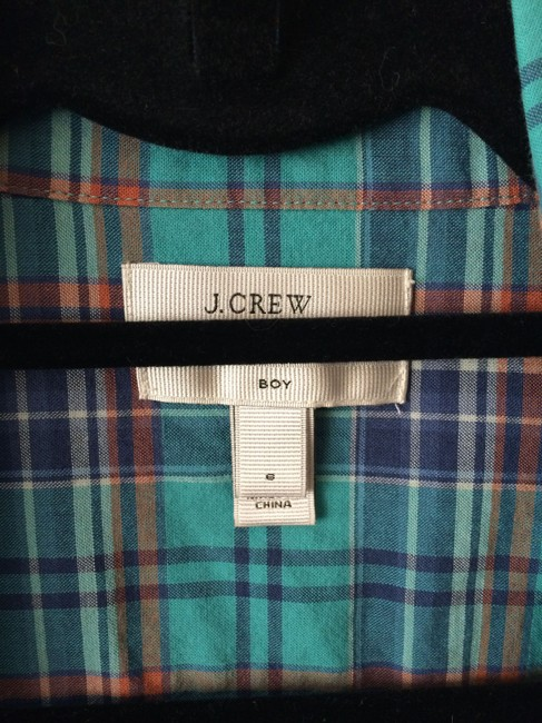 J.Crew Button Down Shirt Teal/Red/Blue