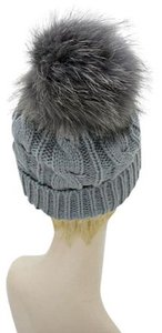 Chic Gray Knit Beanie Winter Hat With Genuine Raccoon Fur Pom Pom