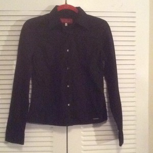 Valentino Signature Buttons Stretchy Nwot Longsleeve Button Down Shirt Black