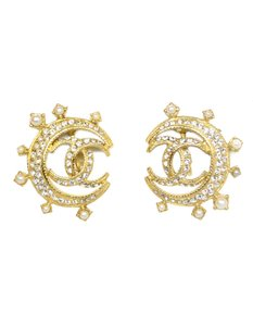 Chanel Chanel Goldtone and Crystal CC Moon Earrings