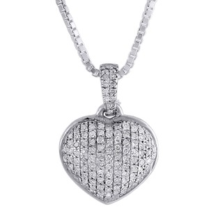 Other Diamond Heart Pendant 14k White Gold Domed Charm Necklace