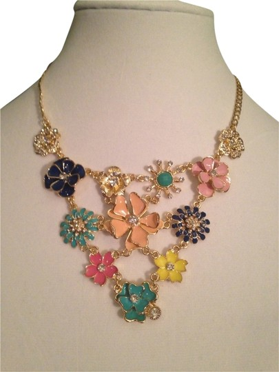 Amrita Singh Amaranth Enamel & Crystal Bib Necklace
