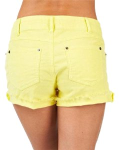 Free People Zippered Cut Off Shorts Pale Yellow