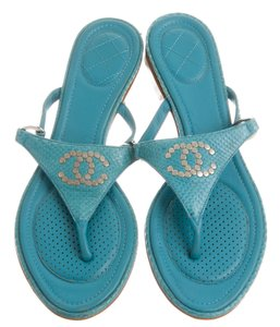 Chanel Camellia Interlocking Cc Logo Blue, Silver Sandals