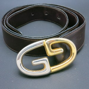 Gucci Gucci belt GG Silver and gold tone Brown leather