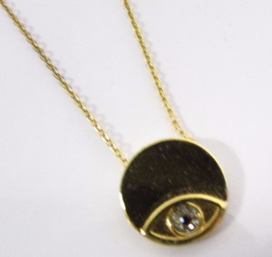 House of Harlow 1960 Evil Eye Pendant Necklace Gold Plating w Crystal Accents